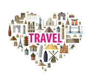 Vacation, travel icons set. Historic architecture in the form of heart on a white background. vector illustration Royalty Free Stock Photo