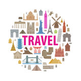 Vacation, travel icons set. Historic architecture on a white background. vector illustration Stock Image