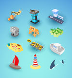 Vacation travel icons set. Included airport, taxi and museum, tropical island beach with palm tree, hotel or bungalow, vector illustration Stock Photos