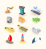 Vacation travel icons set. Included airport, taxi and museum, tropical island beach with palm tree, hotel or bungalow, vector illustration Royalty Free Stock Photo