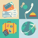 Vacation travel icons set. Vacation travel infographics icons set with hands of ticket purchase hotel booking and flight vector illustration Royalty Free Stock Image