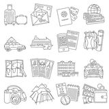 Vacation travel icons set line. Summer vacation travel symbols pictograms collection of  luggage  passport and sightseeing route line  abstract  vector Stock Photos