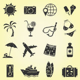 Vacation and travel icons. 16 Vacation and travel icons. Vector illustration Royalty Free Stock Photography