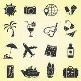 Vacation and travel icons. 16 Vacation and travel icons. Vector illustration stock illustration