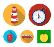 Vacation, travel, lighthouse, compass .Rest and travel set collection icons in flat style vector symbol stock. Illustration Stock Images