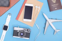 Vacation Travel objects on soft blue background. For travel concept Royalty Free Stock Photography