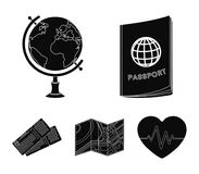 Vacation, travel, passport, globe .Rest and travel set collection icons in black style vector symbol stock illustration.  Stock Photos