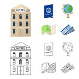 Vacation, travel, passport, globe .Rest and travel set collection icons in cartoon,outline style vector symbol stock. Illustration stock illustration
