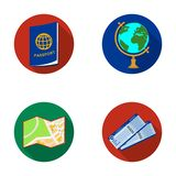 Vacation, travel, passport, globe .Rest and travel set collection icons in flat style vector symbol stock illustration Stock Images