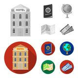 Vacation, travel, passport, globe .Rest and travel set collection icons in monochrome,flat style vector symbol stock. Illustration Royalty Free Stock Photos