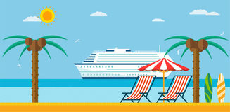 Vacation and travel. Sea beach with lounger and umbrella. Vacation and travel. Sea beach with lounger and umbrella, cruise ship in the sea Royalty Free Stock Photos