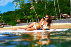 Vacation Travel. Summer Relax. Healthy Woman In Water. Recreational Sports. Vacation Travel. Summer Relax. Healthy Fit Woman With Body In Bikini Sunbathing royalty free stock photos