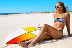 Vacation Travel. Surfer Woman Summer Beach Relax. Surfboard, Surfing Stock Image