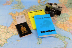 Vacation Travel trough Europe. Studying the travel map, the travel guide and preparation of needed documents, Maps and necessary books and dictionaries for a Royalty Free Stock Photography