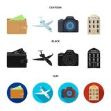 Vacation, travel, wallet, money .Rest and travel set collection icons in cartoon,black,flat style vector symbol stock. Illustration Royalty Free Stock Photos