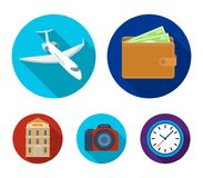 Vacation, travel, wallet, money .Rest and travel set collection icons in flat style vector symbol stock illustration web. Vacation, travel, wallet, money .Rest Stock Photos