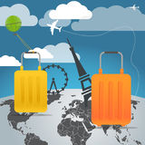 Vacation travelling composition. With the bags Royalty Free Stock Images
