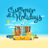 Vacation travelling composition with the open bag. Summer holida Stock Image