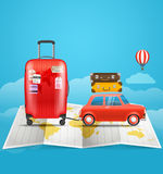 Vacation travelling concept. Car with baggage Stock Image