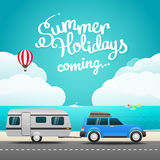 Vacation travelling concept. Flat design illustration. Hello sum Royalty Free Stock Images