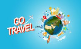 Vacation travelling concept. Go travel. Vector travel illustration with red bag. Horizontal composition Stock Photography