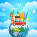 Vacation travelling concept. Vector illustration Royalty Free Stock Photography