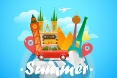 Vacation travelling concept. Vector travel illustration Stock Photo
