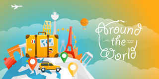 Vacation travelling concept. Vector travel illustration. With the car. Around the world Royalty Free Stock Images