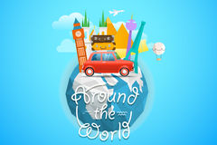 Vacation travelling concept. Vector travel illustration. NAround the world concept with the logo and the Earth Royalty Free Stock Photos
