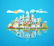 Vacation travelling concept. Vector travel skyline illustration Royalty Free Stock Photography