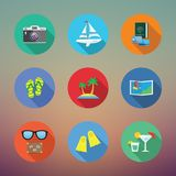 Vacation or Travelling Flat Style Vector Icon Set Stock Photography