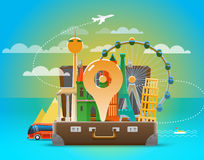 Vacation travelling skyline composition Royalty Free Stock Image
