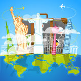 Vacation travelling skyline composition Stock Images