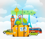 Vacation travelling skyline concept. Vector travel illustration Stock Photos
