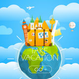Vacation travelling skyline concept. Vector travel Stock Photography