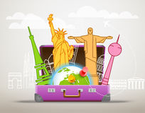 Vacation travelling vector composition. Vacation travelling composition with the open bag Royalty Free Stock Image