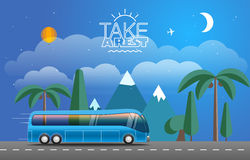 Vacation travelling vector composition. Vacation travelling composition with the open bag Stock Photos