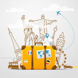 Vacation travelling vector composition. Vacation travelling composition with yellow bag Royalty Free Stock Photography