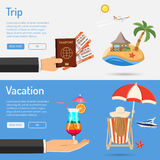 Vacation and Trip Banners Royalty Free Stock Photos