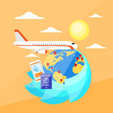 Vacation Trip Booking Ticket Online Plane Flight Stock Images