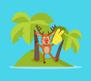 Vacation on Tropic Island Cartoon Vector Concept Royalty Free Stock Photo