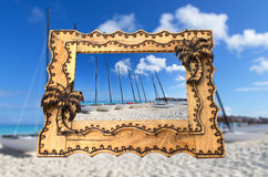 Vacation tropical hand made wooden picture frame Royalty Free Stock Photography