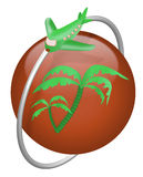 Vacation tropical island travel button airplane Stock Photos
