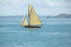 Vacation under vintage sails of leisure yacht royalty free stock image