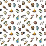 Vacation vector eps10 hand drawn seamless pattern. stock images