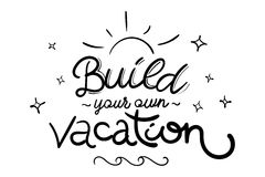 Vacation Vector Illustration with Unique Hand Drawn Brush Letter. Ing. Handwritten Funny Style. Motivation Quote for Travel Agency, Poster, Sticker, Vacation Stock Photos