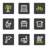 Vacation web icons, grey square buttons series royalty free illustration