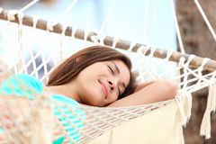 Free Vacation Woman In Hammock Sleeping Stock Photography - 24466452