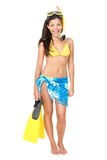 Vacation woman isolated. Standing in bikini beach wear wearing snorkel holding snorkeling fins standing isolated on white in full body. Mixed race Asian / royalty free stock image
