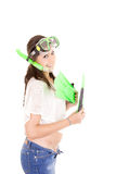Vacation woman in summerwear wearing snorkel and Stock Photos